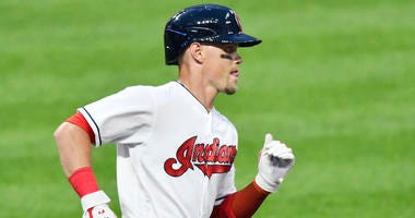 Aug 6, 2018; Cleveland, OH, USA; Cleveland Indians right fielder Brandon Guyer (6) runs the bases on his two run home run in the fourth inning against the Minnesota Twins at Progressive Field.