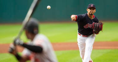 Aug 17, 2018; Cleveland, OH, USA; Cleveland Indians starting pitcher Carlos Carrasco begins the game pitching to Baltimore Orioles Cedric Mullins at Progressive Field.