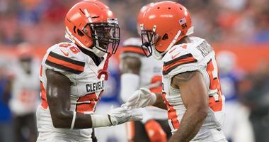Cleveland Browns defensive back Derrick Kindred (26) and linebacker Mychal Kendricks (54) at FirstEnergy Stadium.