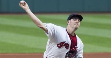 Cleveland Indians starting pitcher Trevor Bauer (47) throws a pitch during the first inning against the Boston Red Sox at Progressive Field.
