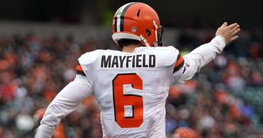 Cleveland Browns quarterback Baker Mayfield (6) reacts to a first down against the Cincinnati Bengals in the first half at Paul Brown Stadium.
