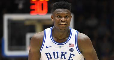 Feb 16, 2019; Durham, NC, USA; Duke Blue Devils forward Zion Williamson (1) reacts during the second half against the North Carolina State Wolfpack at Cameron Indoor Stadium. The Blue Devils won 94-78. Mandatory Credit: Rob Kinnan-USA TODAY Sports