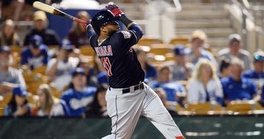 Mar 6, 2019; Phoenix, AZ, USA; Cleveland Indians first baseman Carlos Santana (41) bats against the Los Angeles Dodgers during the first inning at Camelback Ranch. Mandatory Credit: Joe Camporeale-USA TODAY Sports