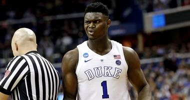 Duke Blue Devils forward Zion Williamson (1) reacts to a play during the second half against the Virginia Tech Hokies in the semifinals of the east regional of the 2019 NCAA Tournament at Capital One Arena.