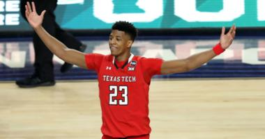Apr 6, 2019; Minneapolis, MN, USA; Texas Tech Red Raiders guard Jarrett Culver (23) celebrates after defeating the Michigan State Spartans in the semifinals of the 2019 men's Final Four at US Bank Stadium. Mandatory Credit: Brace Hemmelgarn-USA TODAY Spor