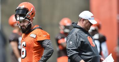 May 15, 2019; Berea, OH, USA; Cleveland Browns head coach Freddie Kitchens talks to quarterback Baker Mayfield (6) during organized team activities at the Cleveland Browns training facility. Mandatory Credit: Ken Blaze-USA TODAY Sports