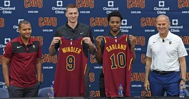 Jun 21, 2019; Independence, OH, USA; Cleveland Cavaliers first round draft picks Dylan Windler and Darius Garland show off their jerseys with General Manager Koby Altman and head coach John Beilein during a press conference at Cleveland Clinic Courts.