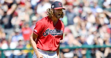Jul 14, 2019; Cleveland, OH, USA; Cleveland Indians relief pitcher Adam Cimber (90) reacts after getting the final out during the seventh inning against the Minnesota Twins at Progressive Field. Mandatory Credit: Ken Blaze-USA TODAY Sports