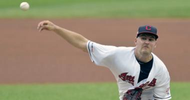 Jul 18, 2019; Cleveland, OH, USA; Cleveland Indians starting pitcher Trevor Bauer (47) delivers against the Detroit Tigers in the first inning at Progressive Field. Mandatory Credit: David Richard-USA TODAY Sports