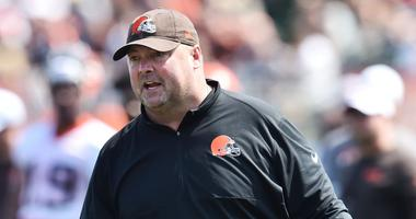 Cleveland Browns head coach Freddie Kitchens during training camp at the Cleveland Browns Training Complex.