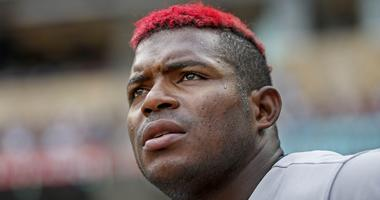 Aug 11, 2019; Minneapolis, MN, USA; Cleveland Indians right fielder Yasiel Puig (66) watches the game against the Minnesota Twins at Target Field. Mandatory Credit: Bruce Kluckhohn-USA TODAY Sports