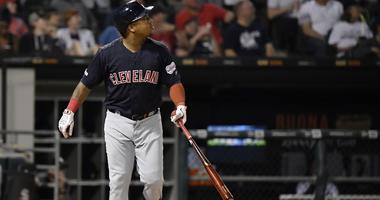 Sep 24, 2019; Chicago, IL, USA; Cleveland Indians third baseman Jose Ramirez (11) hits a three run home run in the third inning against the Chicago White Sox at Guaranteed Rate Field. Mandatory Credit: Quinn Harris-USA TODAY Sports