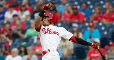 Sep 28, 2019; Philadelphia, PA, USA; Philadelphia Phillies second baseman Cesar Hernandez (16) hits a home run during the first inning against the Miami Marlins at Citizens Bank Park. Mandatory Credit: Bill Streicher-USA TODAY Sports