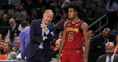 Cleveland Cavaliers head coach John Beilein (left) and guard Collin Sexton (right)