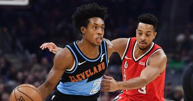 Nov 23, 2019; Cleveland, OH, USA; Cleveland Cavaliers guard Collin Sexton (2) drives to the basket against Portland Trail Blazers guard CJ McCollum (3) during the first half at Rocket Mortgage FieldHouse. Mandatory Credit: Ken Blaze-USA TODAY Sports