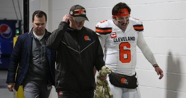 Dec 1, 2019; Pittsburgh, PA, USA; Cleveland Browns quarterback Baker Mayfield (6) returns to the locker room early after suffering an apparent injury to his hand against the Pittsburgh Steelers late in the second quarter at Heinz Field. Mandatory Credit: