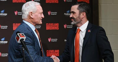 Cleveland Browns owner Jimmy Haslam shakes hands with new Browns head coach Kevin Stefanski during a press conference at FirstEnergy Stadium.