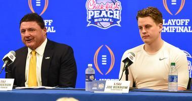 LSU head coach Ed Orgeron and quarterback Joe Burrow