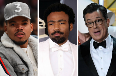 February 18, 2018; Los Angeles, CA, USA; Chance The Rapper at the 2018 NBA All Star Game at Staples Center. Gambino (Donald Glover) at the 60th Annual Grammy Awards at Madison Square Garden. Stephen Colbert performs at the 69th Emmy Awards at Microsoft Th