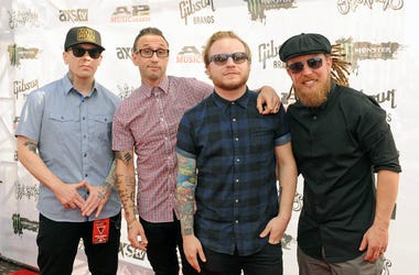 Barry Kerch, Brent Smith, Zach Myers, and Eric Bass of the band Shinedown attend the 2015 Alternative Press Music Awards