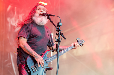 Tom Araya of Slayer during Chicago Open Air Music Festival
