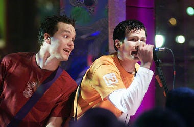 Blink 182 on 'MTV 2 Large' on New Year's Eve in MTV's Times Square studios, 12/31/99