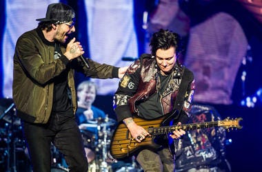 M. Shadows and Synyster Gates perform during Avenged Sevenfold's The Stage World Tour