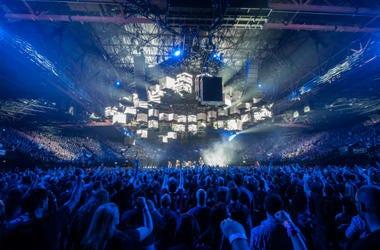 Metallica performing live on stage at Genting Arena in Birmingham, UK