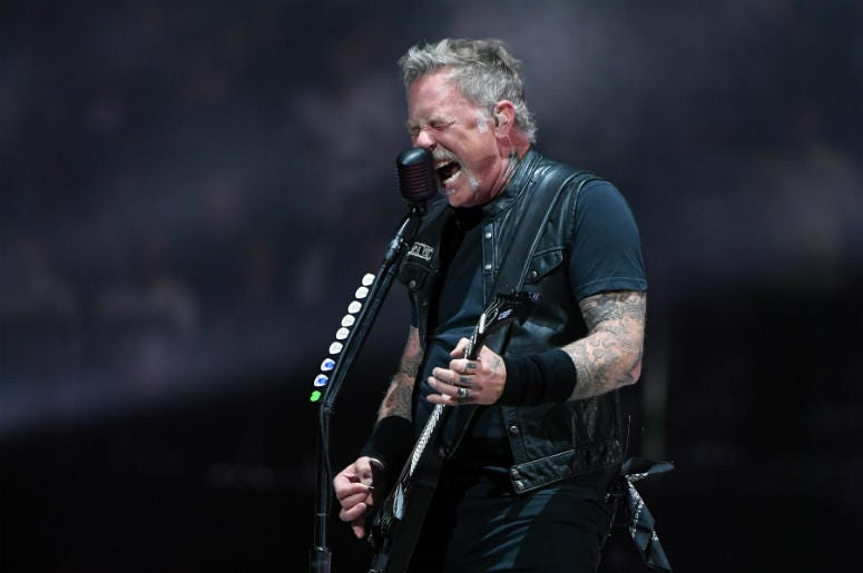 Singer/guitarist James Hetfield of Metallica performs during a stop of the band's WorldWired Tour on November 26, 2018