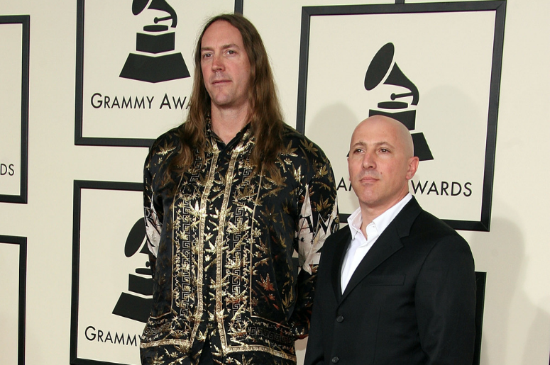 Musicians Maynard James Keenan (R) and Danny Carey from the group Tool arrive at the 50th annual Grammy awards