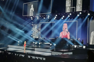 Celine Dion performs at the Smoothie King Center Friday.