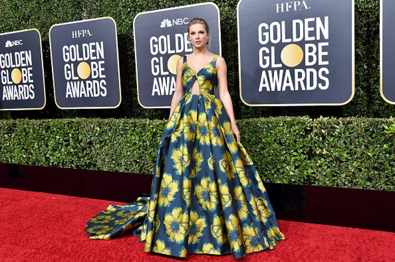 Taylor Swift in long floral Dress at Golden Globes