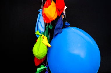 A bunch of deflated balloons