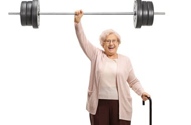 Elderly weightlifter