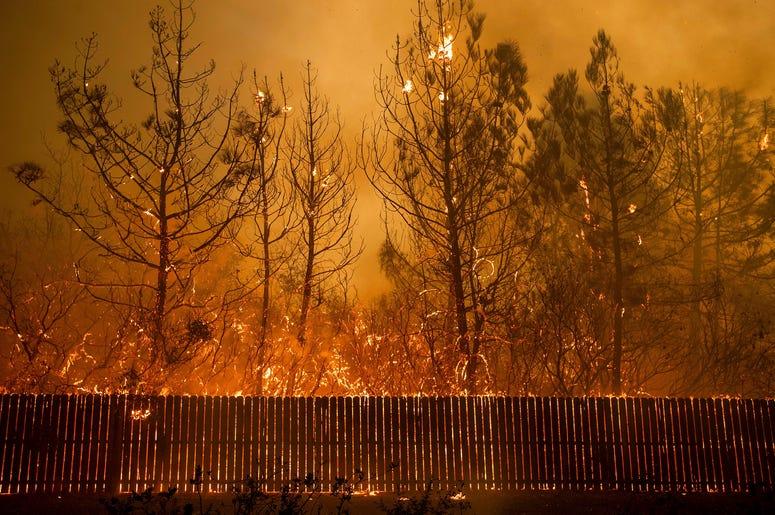Las llamas llegan a lo alto de los árboles en Paradise, California, el 8 de noviembre de 2018. Un nuevo informe federal advierte que ese tipo de desastres climáticos extremos están empeorando en Estados Unidos.
