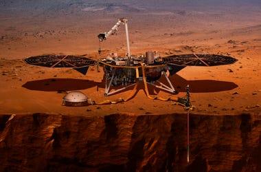 Una ilustración suministrada por la NASA de cómo se vería la sonda InSight en Marte.