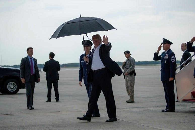 Donald Trump llega a la Base de la Fuerza Aérea Andrews en Maryland, el jueves 30 de mayo de 2019.