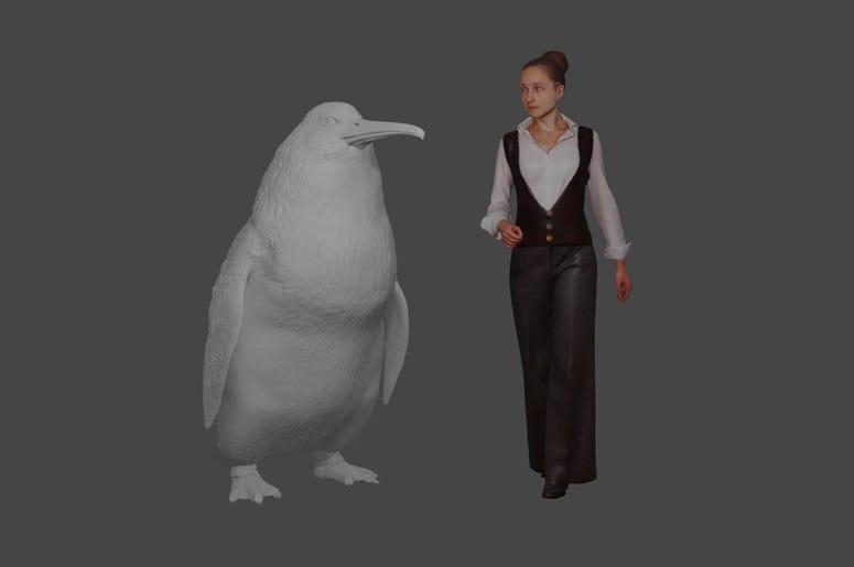 """Esta ilustración del Museo de Canterbury muestra la altura aproximada de un pingüino gigante """"crossvallia waiparensis"""" junto a un humano. Científicos de Nueva Zelanda han encontrado huesos fosilizados de un pingüino gigante extinto del tamaño de un humano"""