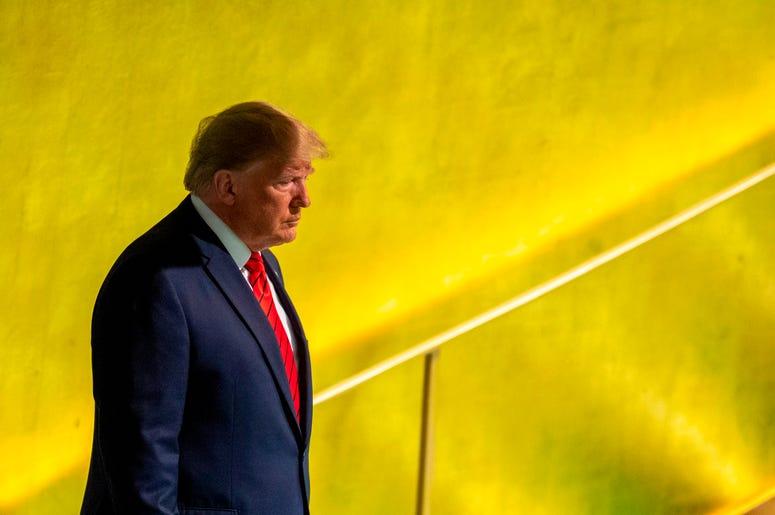 El presidente de Estados Unidos, Donald Trump, se alista para hablar ante la 74ª sesión de la Asamblea General de las Naciones Unidas en la sede de la ONU el martes 24 de septiembre de 2019.