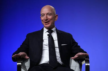 Amazon CEO Jeff Bezos, founder of space venture Blue Origin and owner of The Washington Post, participates in an event hosted by the Air Force Association September 19, 2018 in National Harbor, Maryland. Bezos talked about innovating in large organization