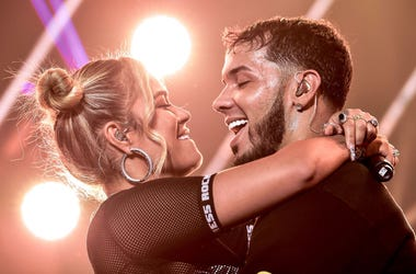 Karol G and Anuel AA perform live on stage during their concert at United Palace Theater on November 17, 2018 in New York City.