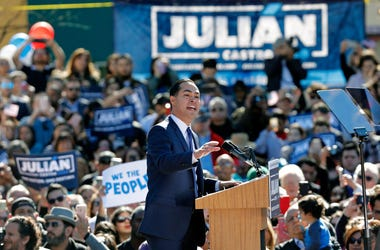 SAN ANTONIO, TX - JANUARY 12: Julian Castro, former U.S. Department of Housing and Urban Development (HUD) Secretary and San Antonio Mayor, announces his candidacy for president in 2020 at Plaza Guadalupe on January 12, 2019 in San Antonio, Texas.