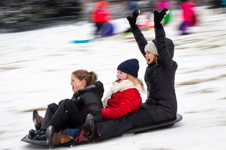 WASHINGTON, DC - JANUARY 13: People sled on the west side of the U.S. Capitol, on January 13, 2019 in Washington, DC. The DC area was hit with 4-7 inches of snow accumulation with the potential of another 2-4 inches.