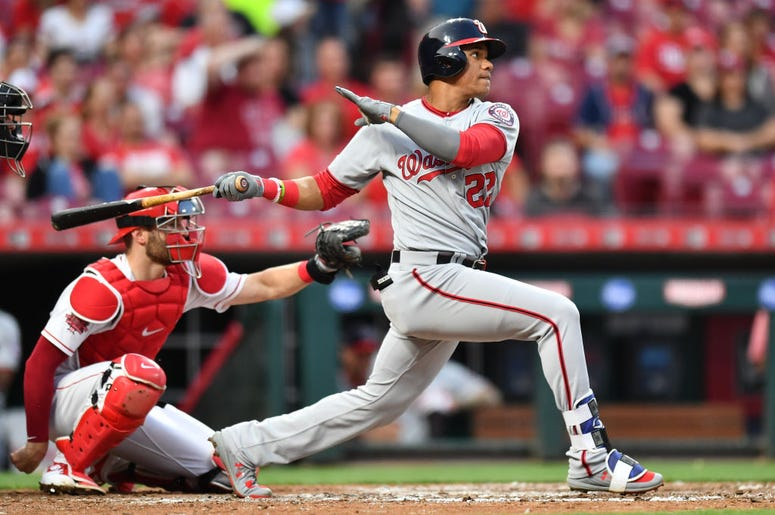 Juan Soto #22 of the Washington Nationals hits a home run in the fourth inning against the Cincinnati Reds at Great American Ball Park on May 31, 2019 in Cincinnati, Ohio. Cincinnati defeated Washington 9-3. (Photo by Jamie Sabau/Getty Images)