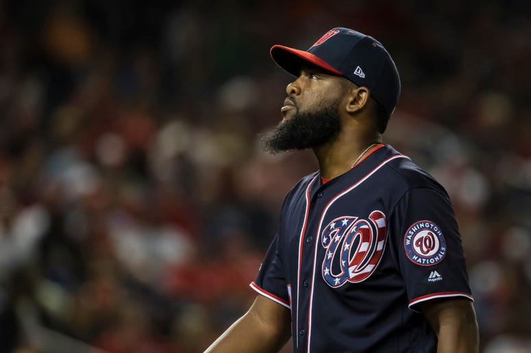 Wander Suero #51 of the Washington Nationals walks to the dugout after being relieved against the Arizona Diamondbacks during the eighth inning at Nationals Park on June 14, 2019 in Washington, DC. (Photo by Scott Taetsch/Getty Images)