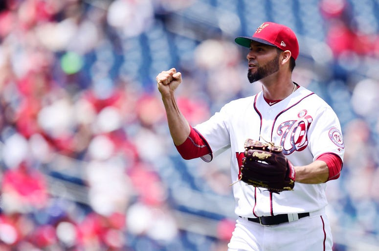 Anibal Sanchez #19 of the Washington Nationals reacts after Neil Walker #18 of the Miami Marlins (not pictured) grounded out to shortstop in the sixth inning at Nationals Park on July 4, 2019 in Washington, DC. (Photo by Patrick McDermott/Getty Images)
