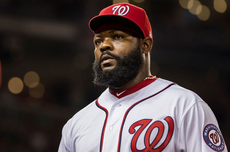 Fernando Rodney #56 of the Washington Nationals walks to the dugout after pitching against the Philadelphia Phillies during the eighth inning at Nationals Park on September 26, 2019 in Washington, DC. (Photo by Scott Taetsch/Getty Images)