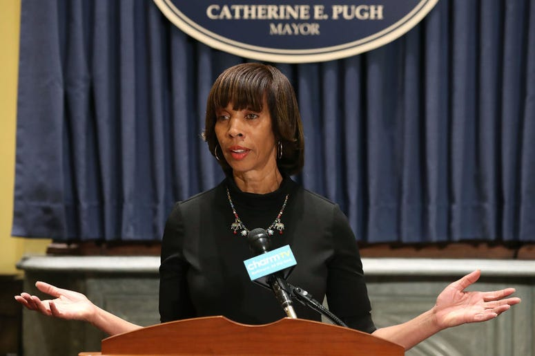 Baltimore Mayor Catherine Pugh talks about the late night removal of four confederate statues in the city, on August 16, 2017 in Baltimore, Maryland. The City of Baltimore removed four statues celebrating confederate heroes from city parks overnight, fol