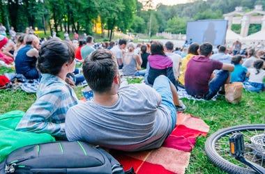 Outdoor movie screening at park