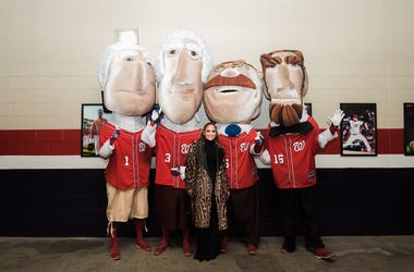 Jennifer Lopez with the Racing Presidents at Nationals Park in Washington, D.C.